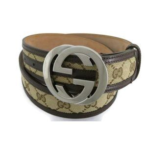 💯 AUTH GUCCI INTER LOCKING GG CANVAS LEATHER BELT